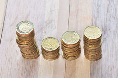 Coins stack in row Royalty Free Stock Images