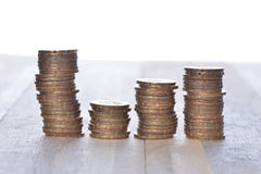 Coins stack in row Royalty Free Stock Photo