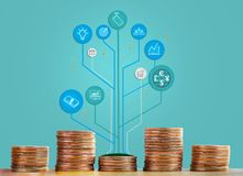 Coins stack and tree infographic showing growht of business and trade. The concept of business growth, financial or money savings stock image