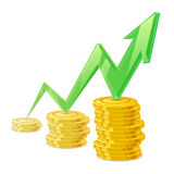 Coins stack vector illustration. Golden money cash. Royalty Free Stock Images