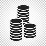 Coins stack vector illustration. Money stacked coins icon in fla. T style. Simple business concept pictogram Royalty Free Stock Image