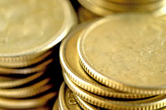 Coins stacked in bars. Royalty Free Stock Photography