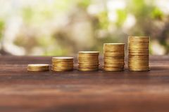 Coins stacked on each other royalty free stock photography