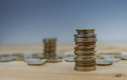 Coins stacked on each other in different positions. Stock Photography