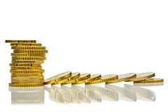 Coins, stacked and lying Royalty Free Stock Photography