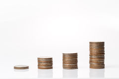 Coins stacking up in graph shape Royalty Free Stock Photos
