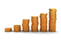 Coins stacks. 3d illustration of raising coins stack over white background Stock Photo
