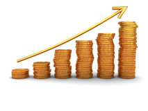 Coins stacks. 3d illustration of raising coins charts with arrow Royalty Free Stock Images