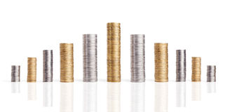 Coins stacks Royalty Free Stock Photography