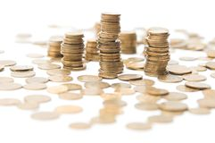 Coins stacks. Isolated over white background Royalty Free Stock Photo