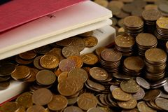 Diary with coins Stock Image