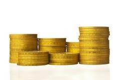 Coins stacks closeup Stock Images