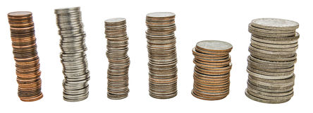Coins stacks collage isolated background Stock Image