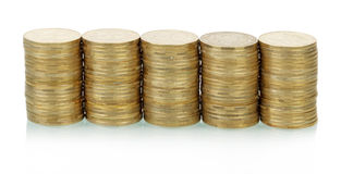 Coins stacks Royalty Free Stock Images