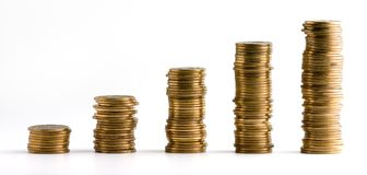 Coins stacks isolated royalty free stock photos