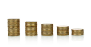Coins stacks, isolated Stock Images