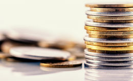 Coins. Stacks and Piles of Coins Royalty Free Stock Image