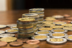 Coins Stacks, Various Currencies, Saving Concept Stock Photography