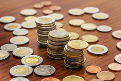 Coins Stacks, Various Currencies, Saving Concept Stock Images
