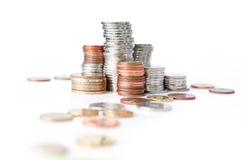 Coins in stacks Royalty Free Stock Photos