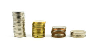 Coins Steps Thai Baht with difference value Stock Photography