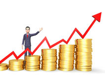 Coins Success Shows Business Person And Banking 3d Rendering Royalty Free Stock Images