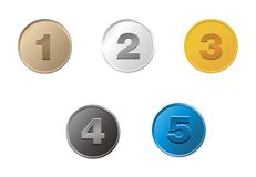 1,2,3,4,5 coins Stock Image