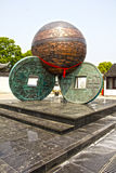 Coins in Suzhou, China. Big old Chinese coins in Suzhou, China Royalty Free Stock Image