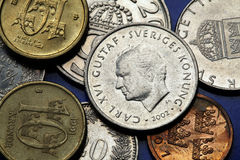 Coins of Sweden Stock Images
