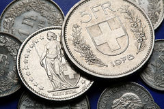 Coins of Switzerland Royalty Free Stock Image