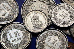 Coins of Switzerland Stock Photo