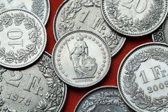 Coins of Switzerland. Standing Helvetia Royalty Free Stock Image