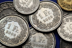 Coins of Switzerland Stock Photos