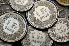 Coins of Switzerland Stock Image