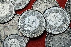 Coins of Switzerland. Swiss one franc coins Royalty Free Stock Photography