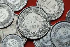 Coins of Switzerland royalty free stock photography