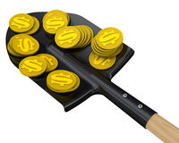 Coins with the symbol of the American dollar on the shovel Stock Images
