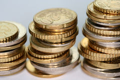 Coins on a table. Europe coins on a table Royalty Free Stock Photos