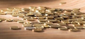 Coins on the table as a background Stock Photography