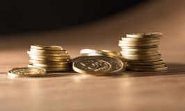 Coins on the table. close-up Royalty Free Stock Photos