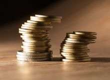 Coins on the table. close-up Royalty Free Stock Image