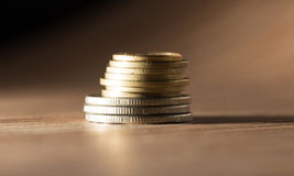 Coins on the table. close-up Stock Photo