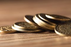 Coins on the table. close-up Royalty Free Stock Images