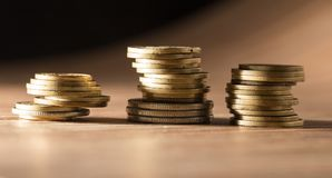 Coins on the table. close-up Stock Photos