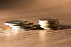 Coins on the table. close-up Stock Image