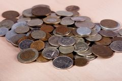 Coins on the table. A lot of coins on the table Royalty Free Stock Image