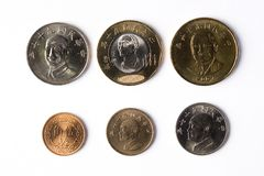 Coins from Taiwan. Collection of coins from Taiwan stock photos