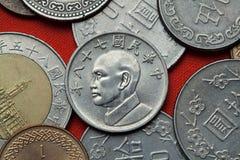 coins taiwan Taiwan president Chiang Kai-shek royaltyfri fotografi