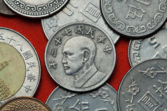 Coins of Taiwan. Taiwan president Chiang Kai-shek. Depicted in the Taiwan five dollars coin stock images