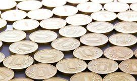 Coins of ten roubles background Royalty Free Stock Photos